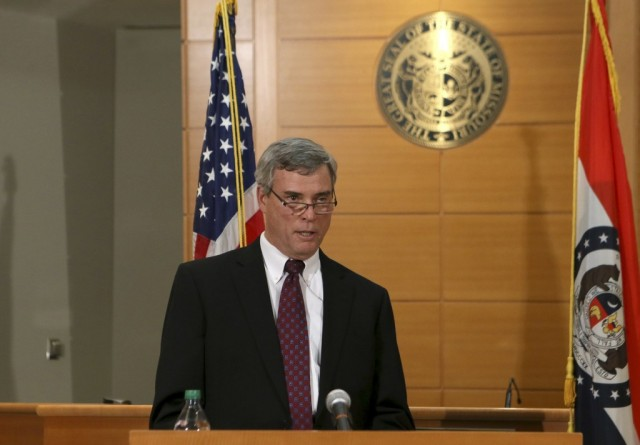 Prosecutor Robert McCulloch announces the Grand Jury's decision not to indict Officer Wilson last night in Ferguson, MO. Photo by Christina Fletes-Boutte/Reuters