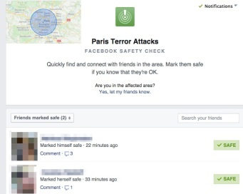Facebook recently launched a check-in option to their website which was used during the Paris Attacks.